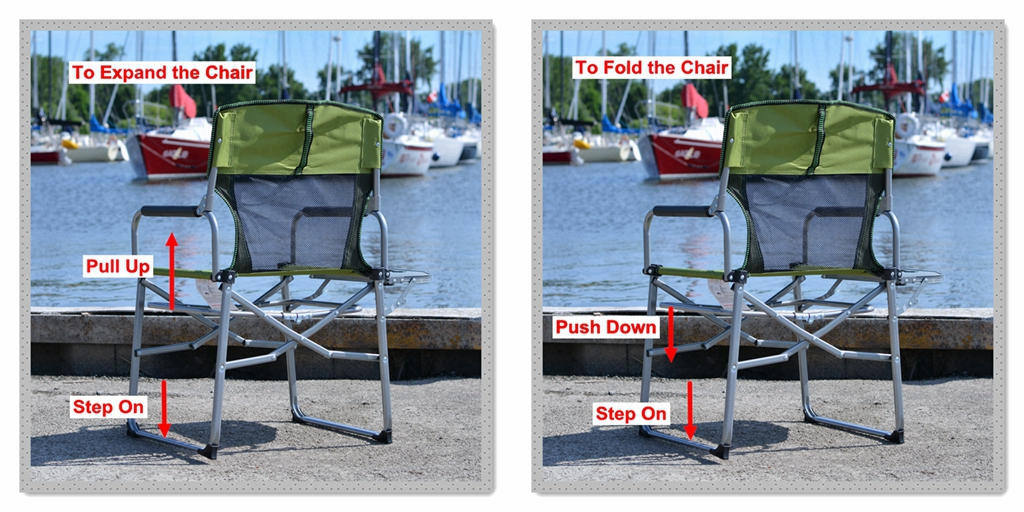 Camping Portable Director Mesh Chair with Side Table
