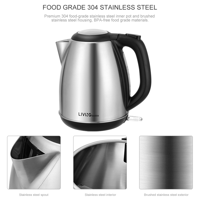 Electric Kettle Water Boiler Stainless Steel 1500W 1.7L BPA Free ...