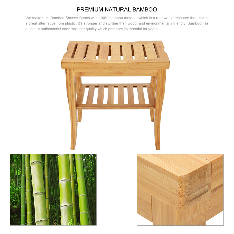 Bamboo Bathroom Shower Bench with Storage Shelf - SortWise™ | Living ...