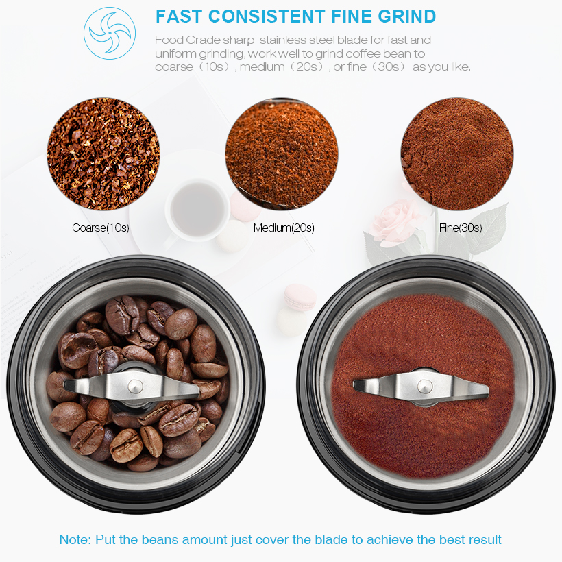 150W Coffee Grinder Electric Machine for Whole Bean Nut Spice, Christmas Gifts