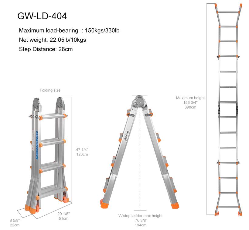 GreenWise® 9.4ft Lightweight Telescopic Ladder with Safety Locker &  Non-slip mat, 330 Pound Capacity