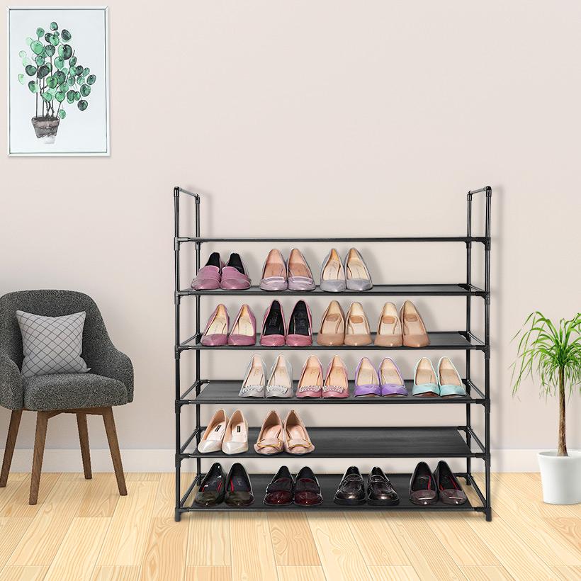 6-Tier Space Saving Storage Organizer Free Standing 36 Pairs Shoe Tower Rack