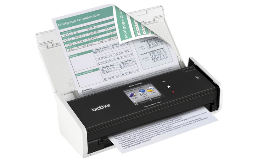 Brother imagecenter ads 1500w compact color desktop scanner great for scanning multi page two sided business documents as well as documents up to 34 long receipts business cards photographs and laminated colourmoves