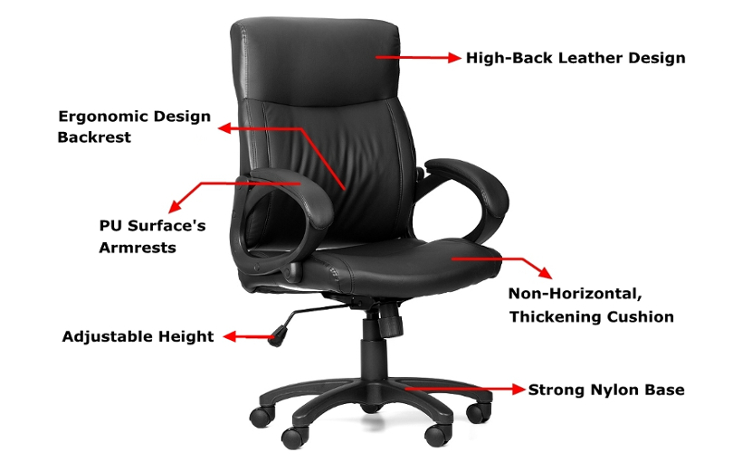 Moustache High Back Leather Swivel Office Executive Chair
