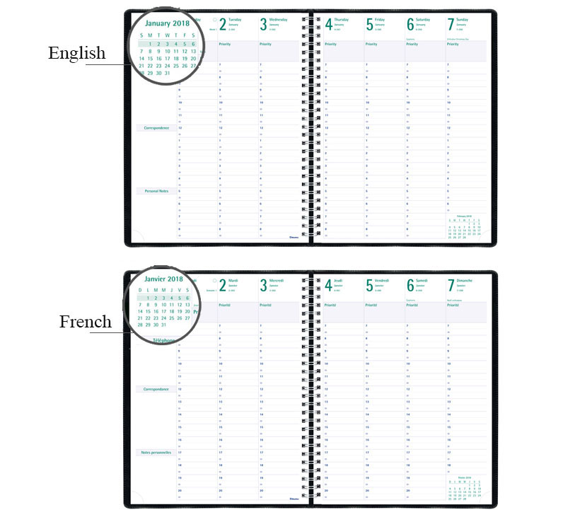 Blueline 7 Day Timanager Weekly Diary 2018 Black 11 X 8