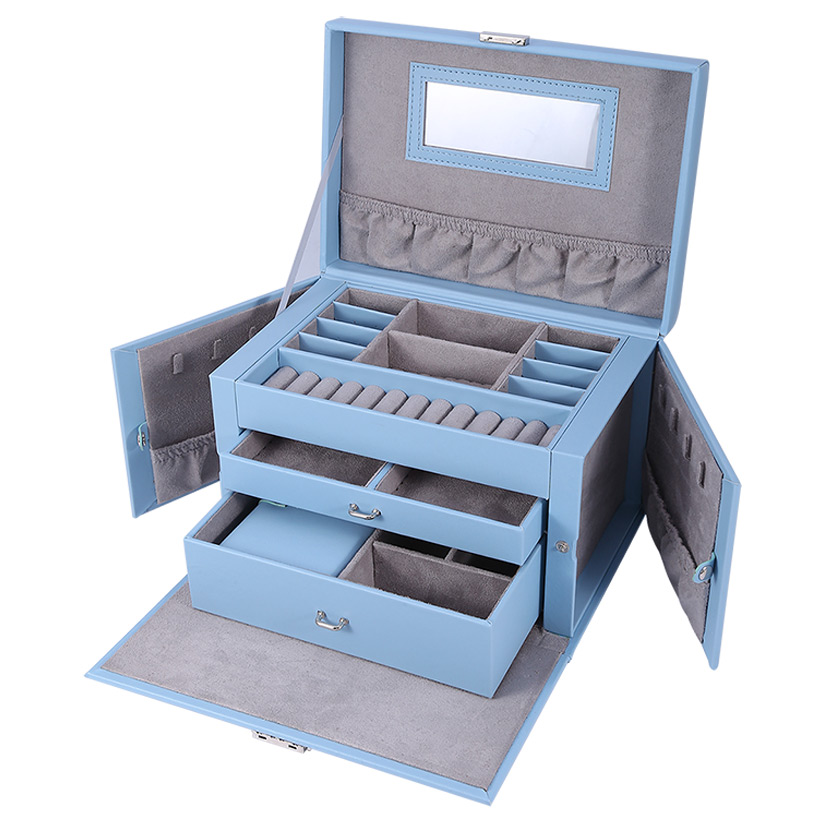 Lockable Jewelry Box Storage 20 Compartments MultiLayer Leather