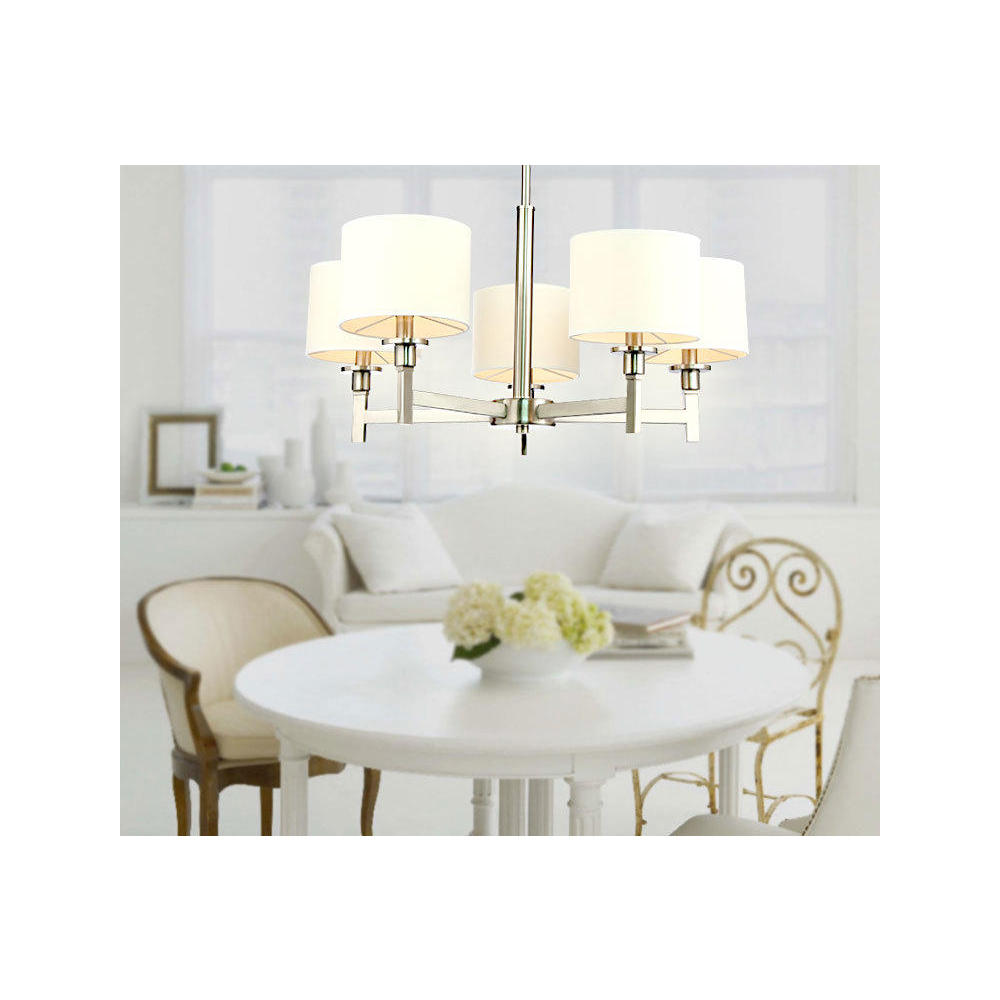 White Shade Brushed Nickel 5 Lights Chandelier At LightingBox Canada