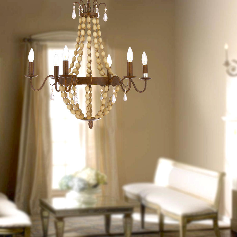 - Antique Finish Wood 6 Lights Cage Chandelier At LightingBox.com Canada