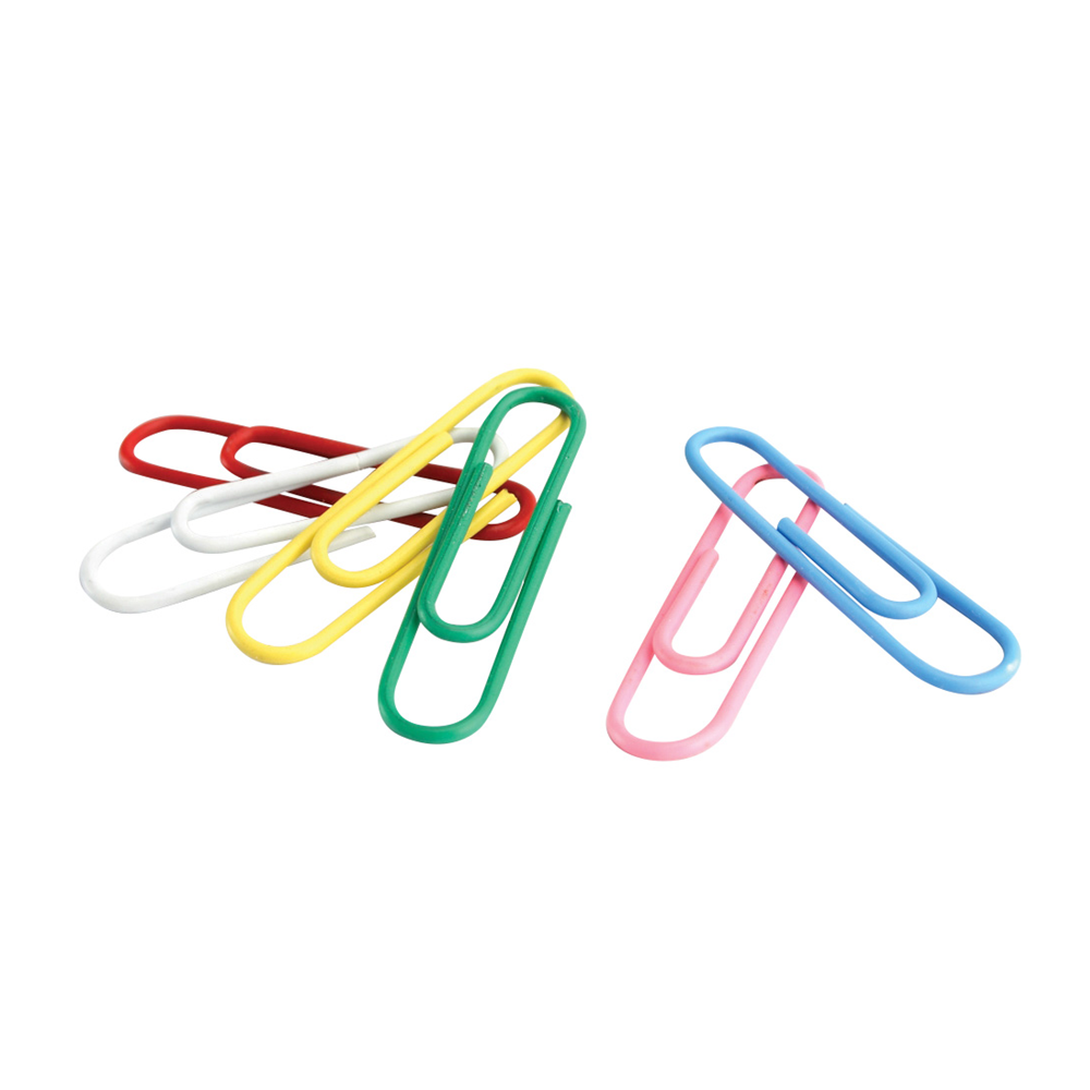 acco coloured paper clips with vinyl coating 100 / box - assorted color