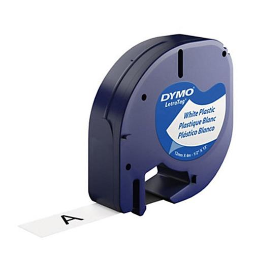 Dymo 91331 Letratag Original Label Tape 12mm 12 Black On White