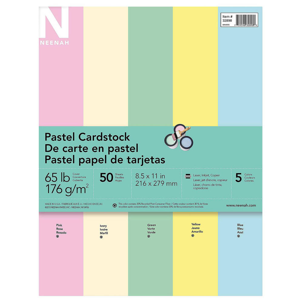 Multi colored cardstock paper - Neenah Exact Pastel Cardstock 5 Colors Assortment 50 Ct 123inkcartridges Canada