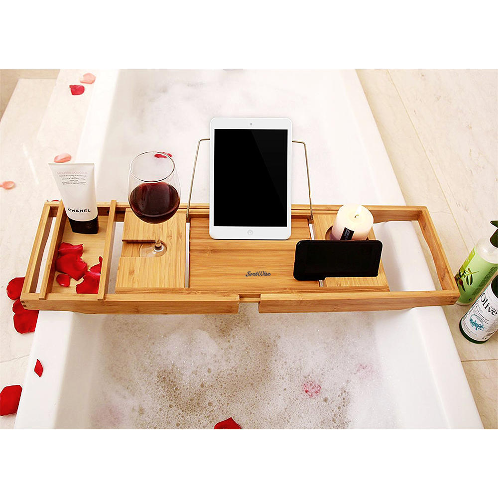 Bamboo Bathtub Caddy Tray with Extending Sides and Reading Rack ...