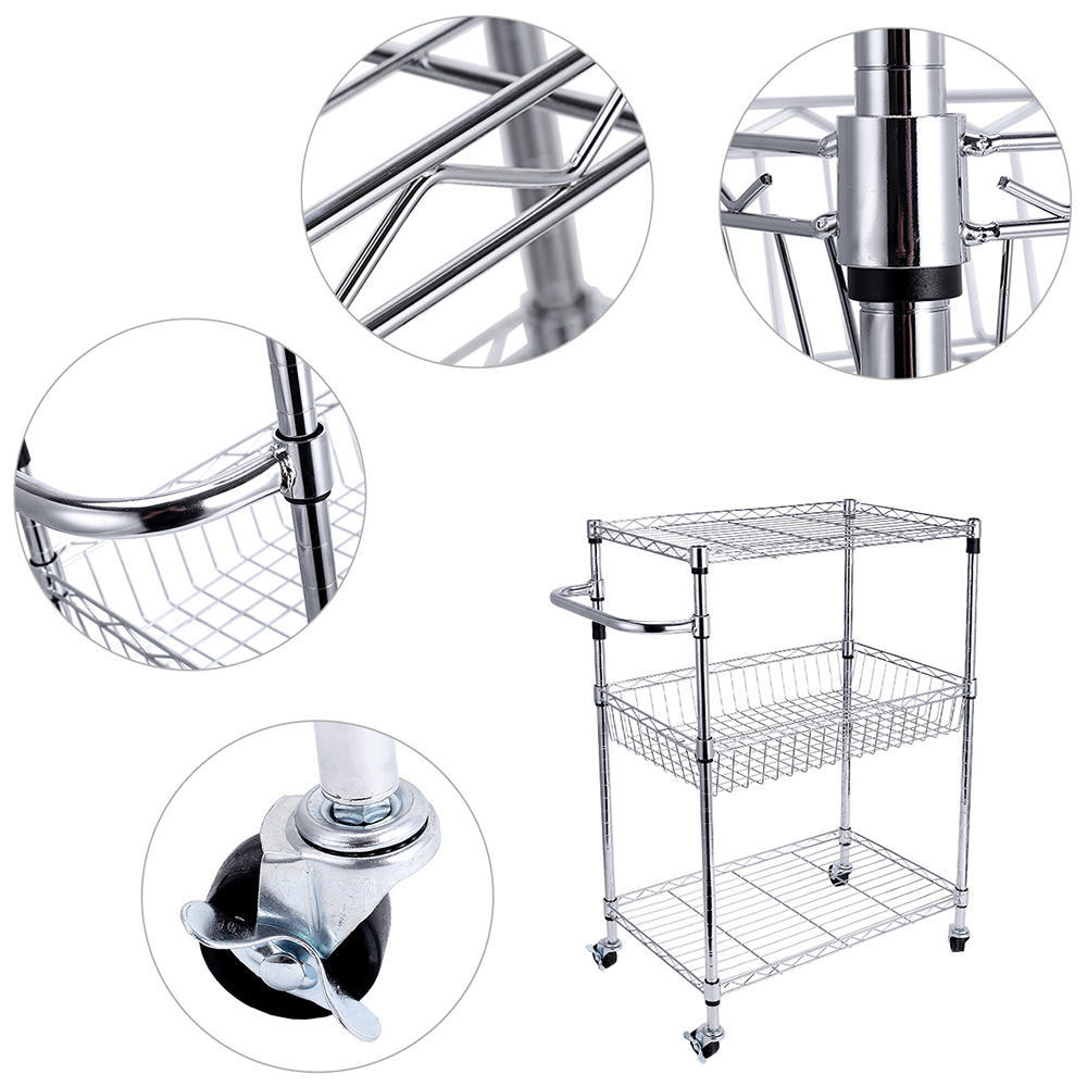Storage Rack Organizer With Wheels Steel Chrome Basket Shelves ...