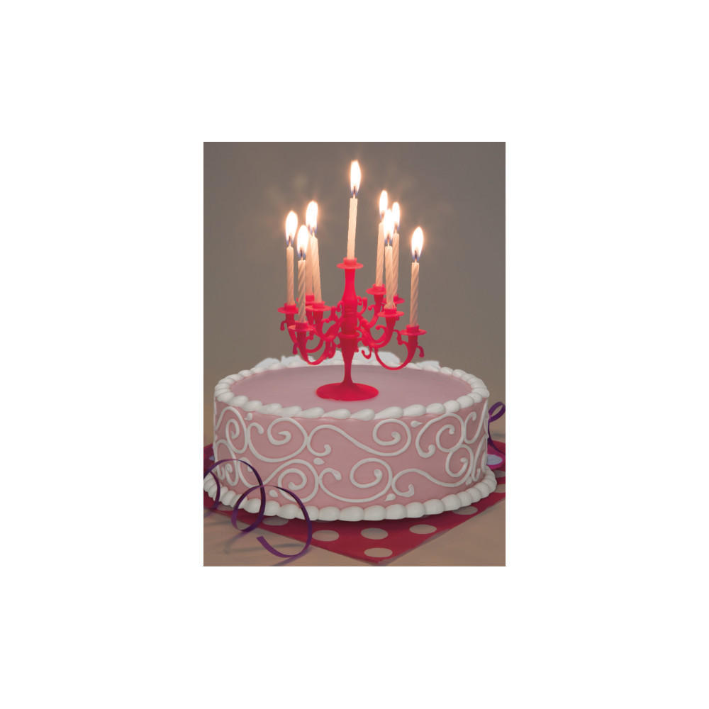 Birthday Candles Hot Pink 9Pcs And Candelabra Cake Toppers