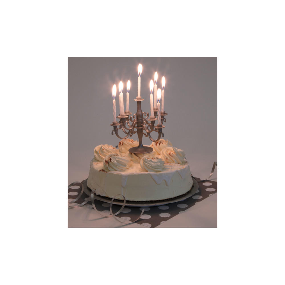 Birthday Candles 9Pcs And Silver Candelabra Cake Toppers