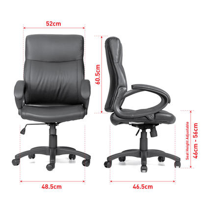 Mid Back Bonded-Leather Office Chair with Armrest