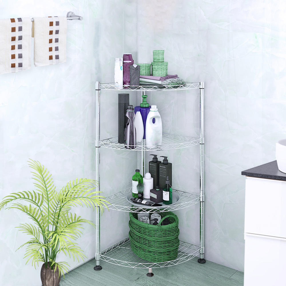 Corner Rack Storage Shelf With Rolling Wheels Stainless Steel ...