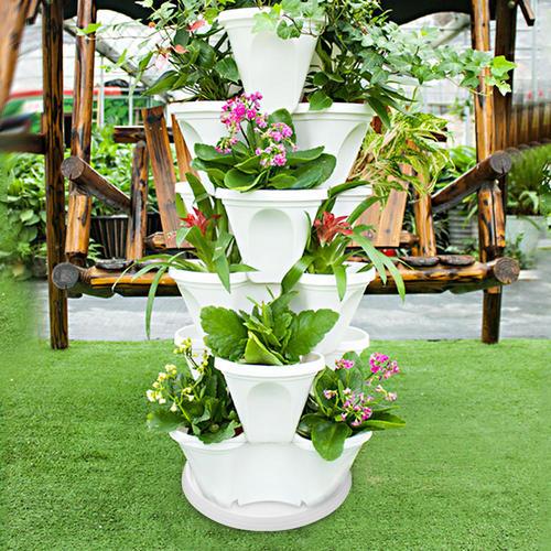Garden Pot Stackable Planter Vertical Self Watering Flower Vegetable