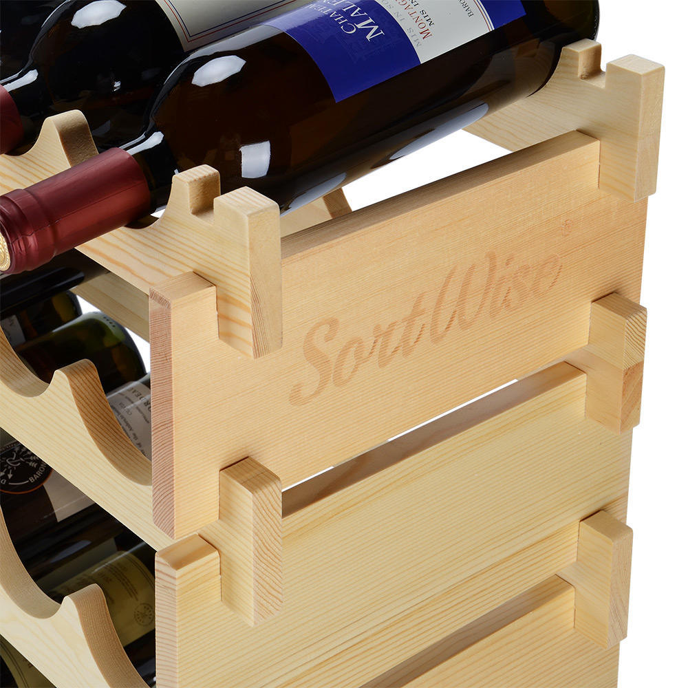 Wood Wine Rack 36 Bottles Holder 6 Tier Stackable Storage Stand ...