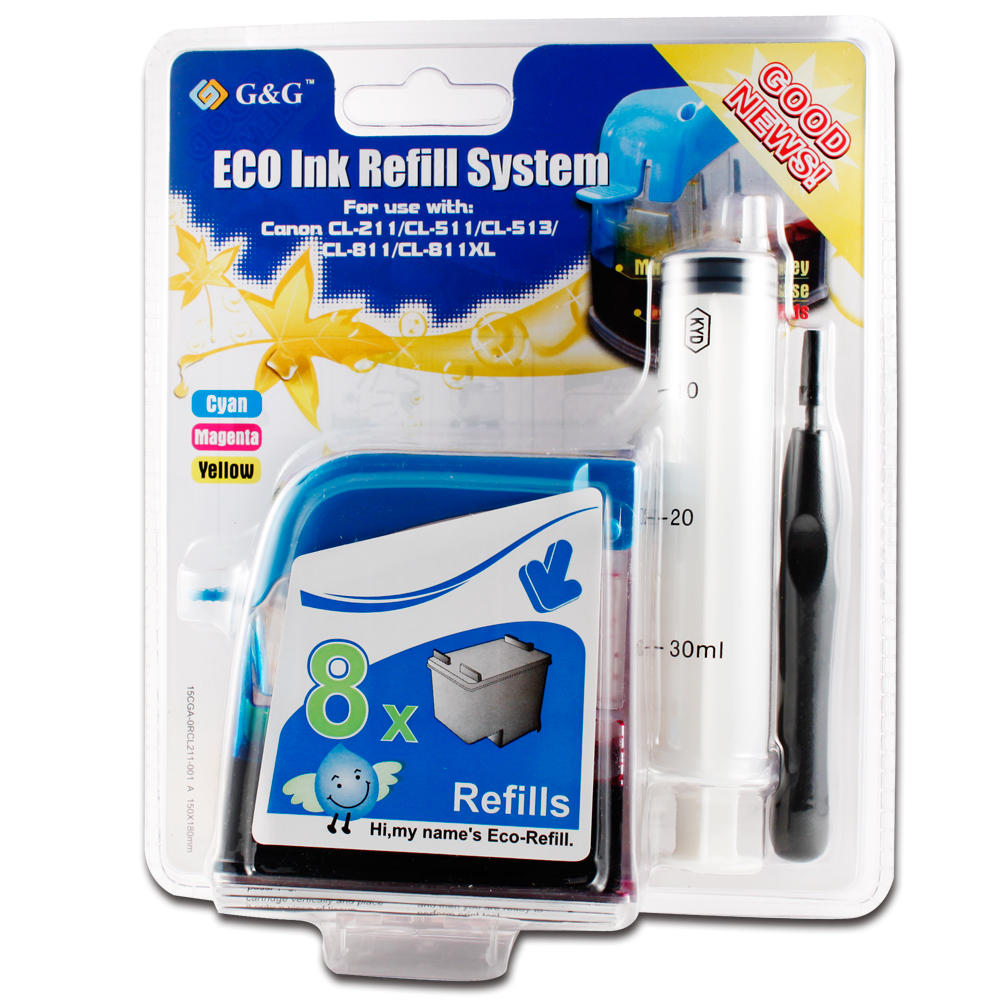 Canon CL211 Color Ink Cartridge Refill Kit - G&G™