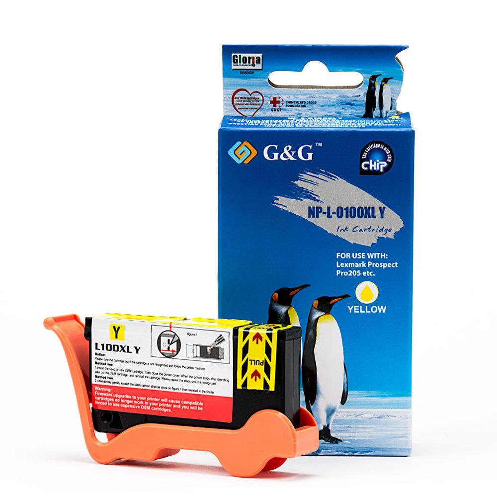 Lexmark 100XL 14N1071 14N1056 Compatible Yellow Ink Cartridge High Yield – G&G