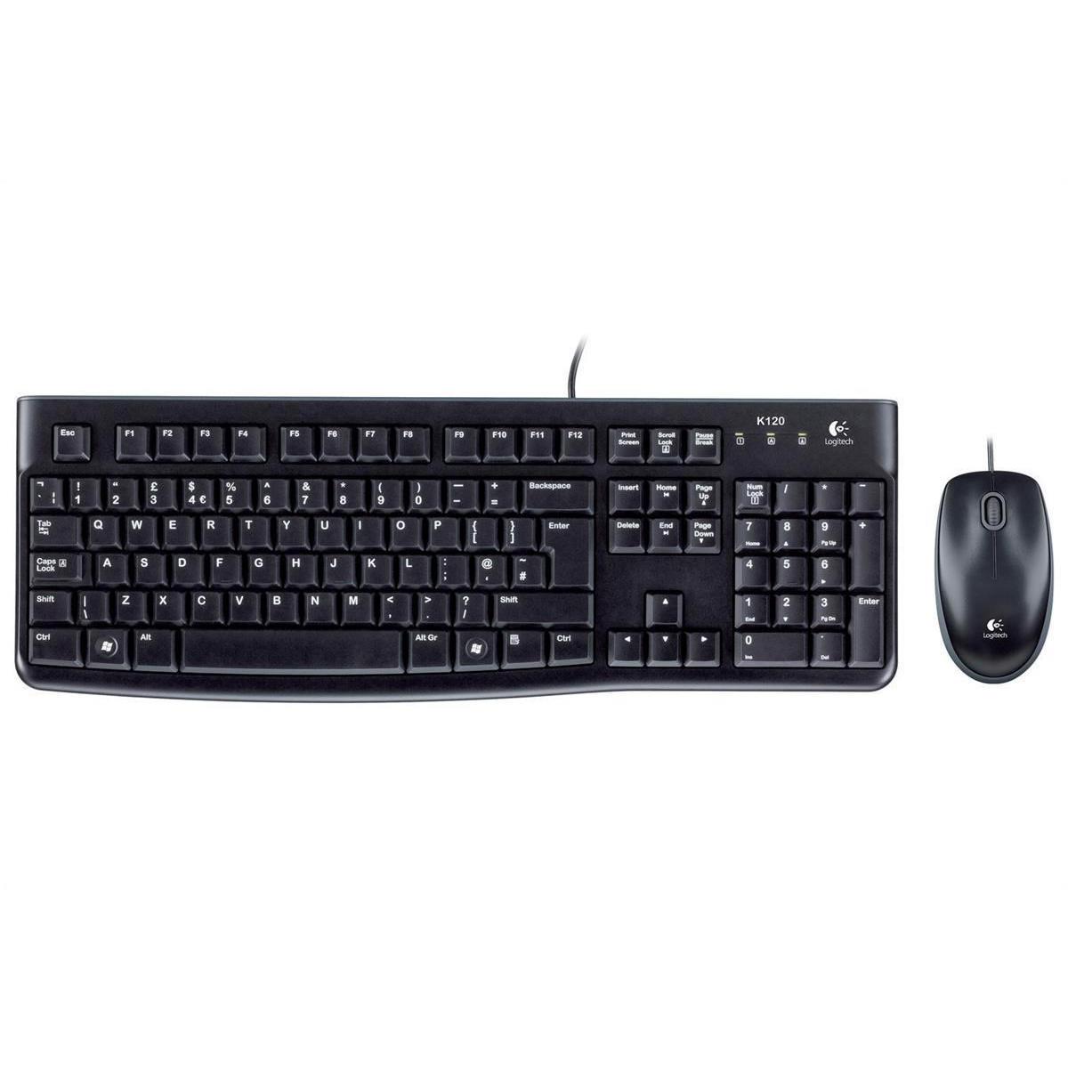 Logitech® Desktop MK120 USB Wired Mouse & Keyboard Combo, English