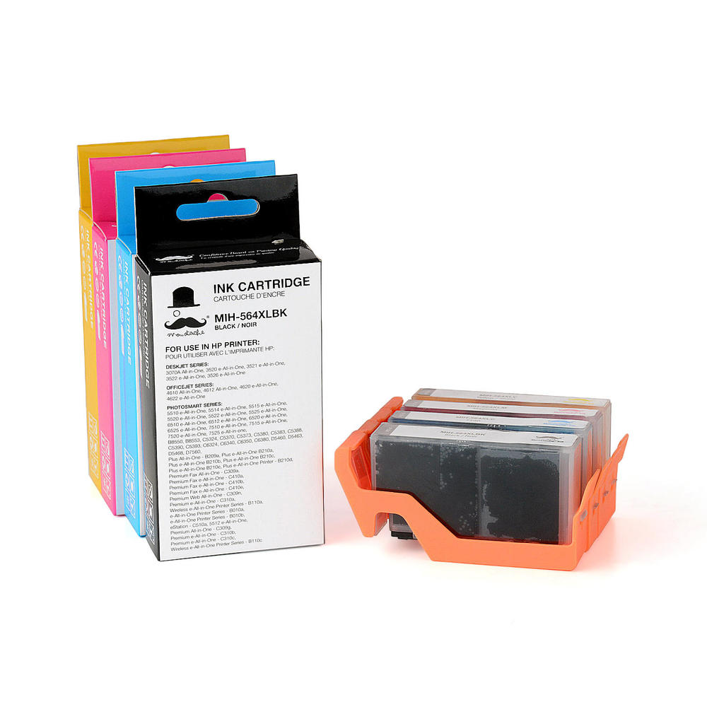 Remanufactured (Compatible) HP 564XL Ink Cartridge Combo BK/C/M/Y -  Moustache®