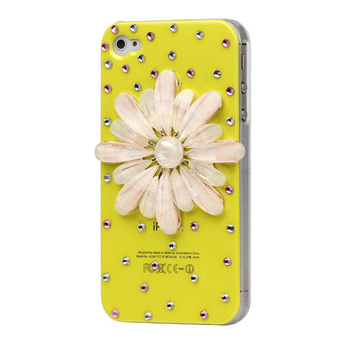 Pink Flower Bling Diamond Hard Case for iPhone 4 4S - Yellow
