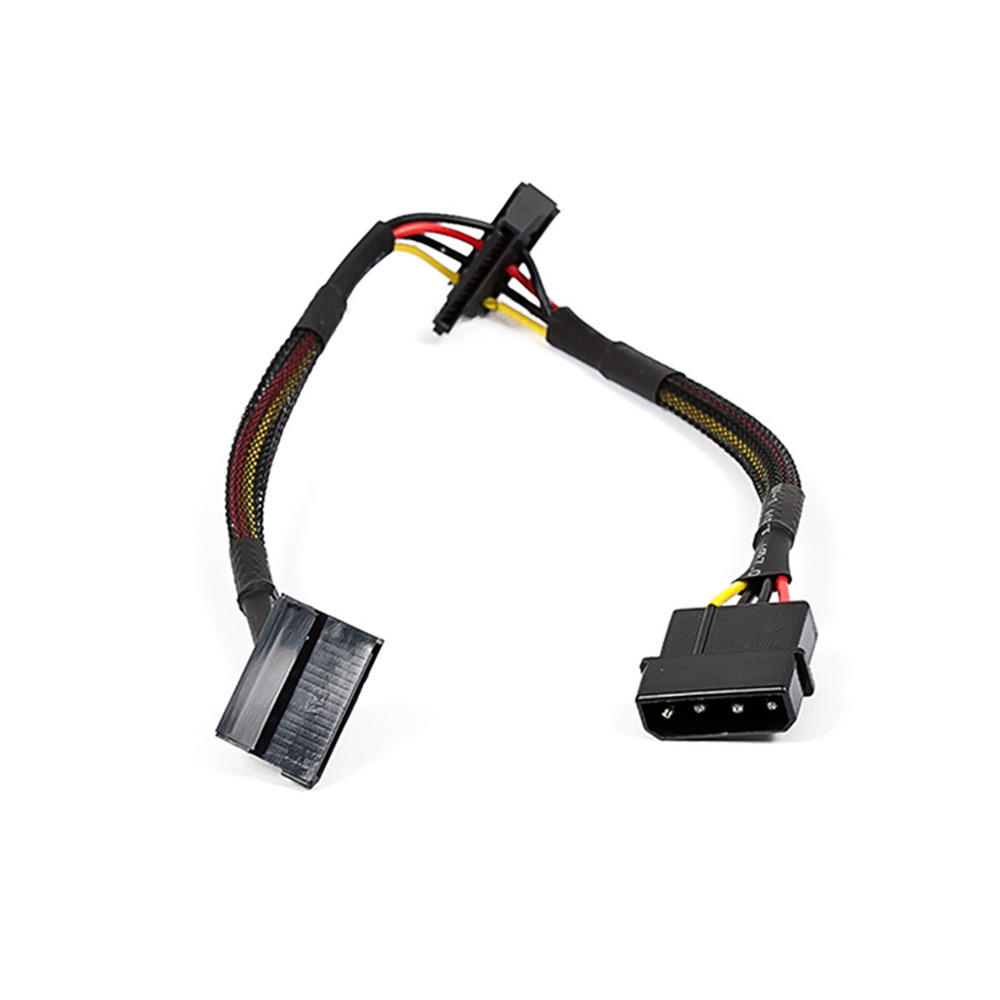 12inch 4pin MOLEX Male to (2) 15pin SATA II Female Power Cable (Net Jacket) - Monoprice