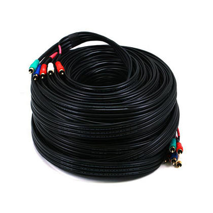 Câble coaxial composant vidéo/audio 22AWG 5-RCA (RG-59/U) - noir (9 longueurs disponibles) - 100Ft