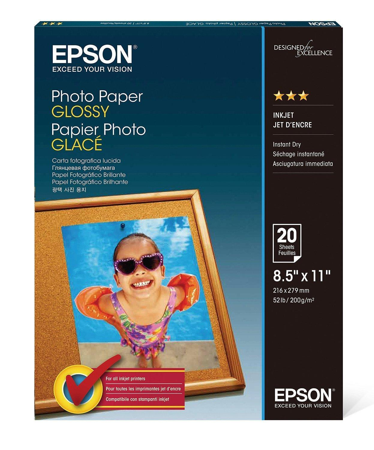 EPSON S041141 20 Sheets Photo Paper, Glossy, 8.5 x 11