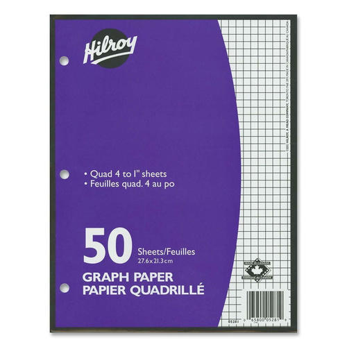hilroy quad 4 to 1 quadruled loose leaf graph paper 10 87 x 8 37