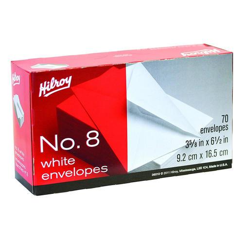 hilroy no 8 white business envelope 3 63 x 6 50 gummed wove