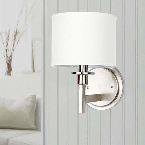 contemporary lighting. Medium Plus 55fee Lightingbox C6042w1 Wall Sconces White Shade Brushed Nickel Finish 1 Light Lamp Contemporary Lighting