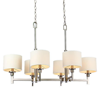 medium chandeliers white shade brushed nickel lights chandelier lighting chain canopy aztec 6 light