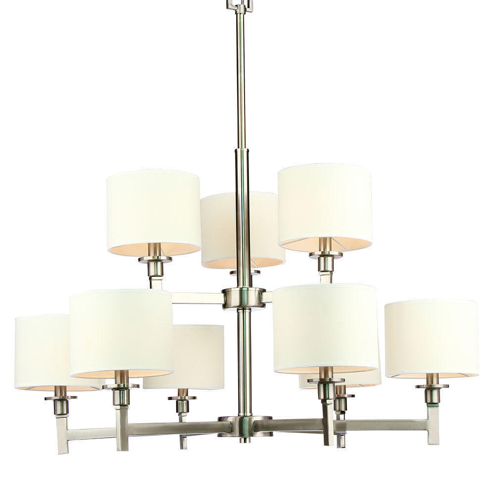 White shade brushed nickel 9 lights chandelier electronic white shade brushed nickel 9 lights chandelier electronic appliance party supplies home improvement storage organization living canada mozeypictures Gallery