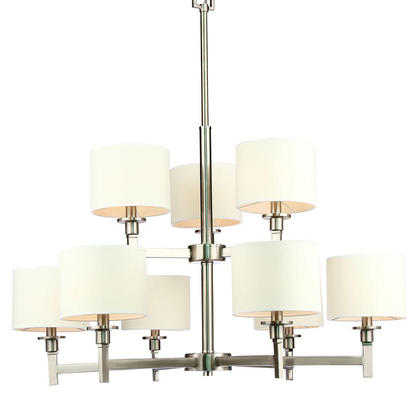 aztec lighting brushed nickel 6 light chandelier with fabric shades chain medium chandeliers white shade lights
