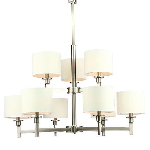 White shade brushed nickel 9 lights chandelier living canada medium plus 5c4ee lightingbox c6042c9 chandeliers white shade brushed nickel 9 lights chandelier mozeypictures Images
