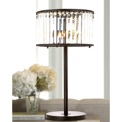 Crystal Drum Shade Black Iron 3 Lights Table Lamp. Luxury Crystal Lighting