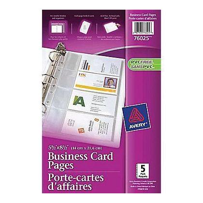 Avery 5 12 x 8 12 business card holder pages 5 pages per pack avery 5 12 x 8 12 business card holder pages 5 pages per pack 164715 123inkcartridges 123ink canada colourmoves
