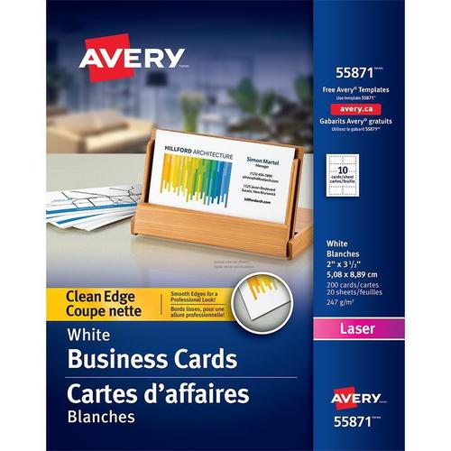 Avery clean edge laser business cards white 200 pack 667527 medium plus 14f97 avery 099 55871 business card avery clean edge laser business cards white 200 colourmoves