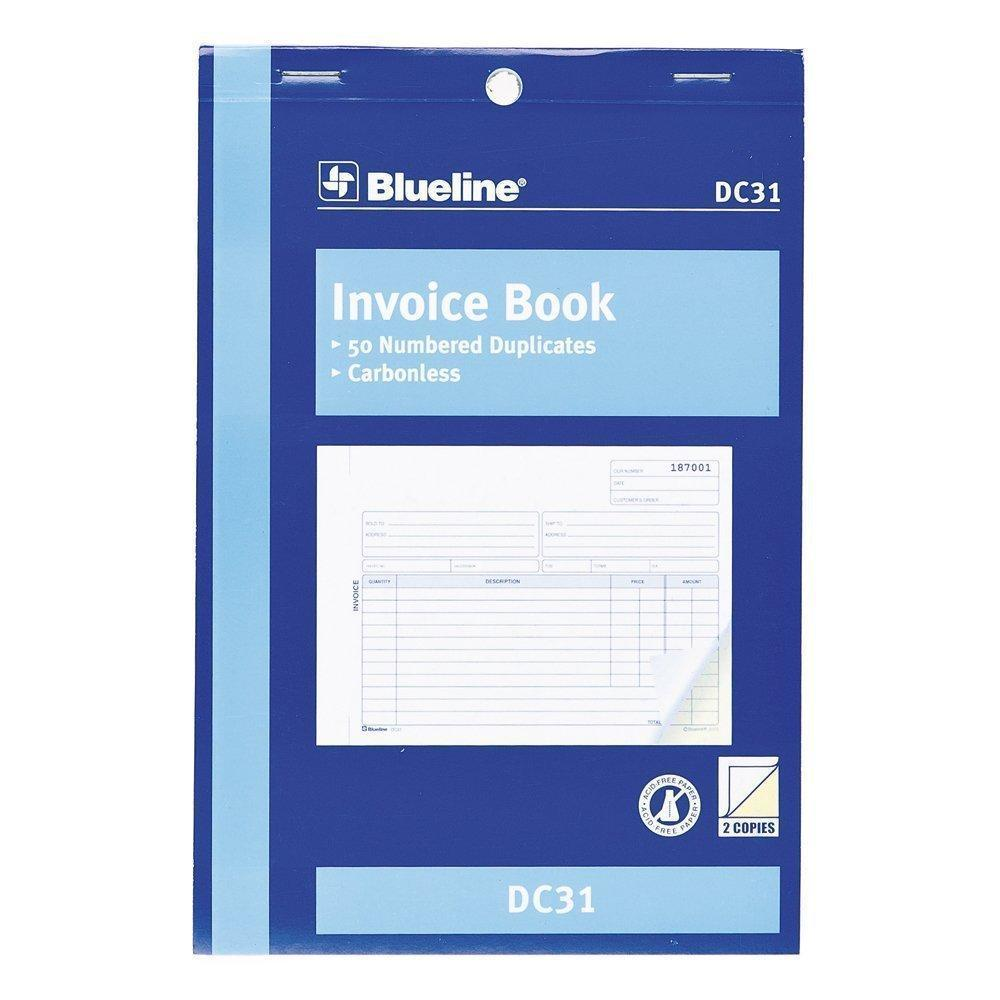 blueline blank invoice book carbonless copy