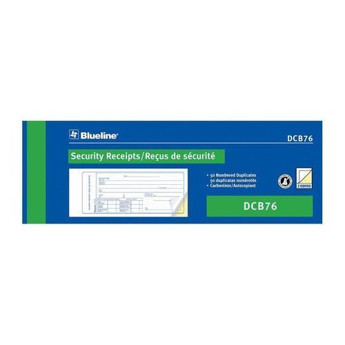 blueline security receipts carbonless copy bilingual