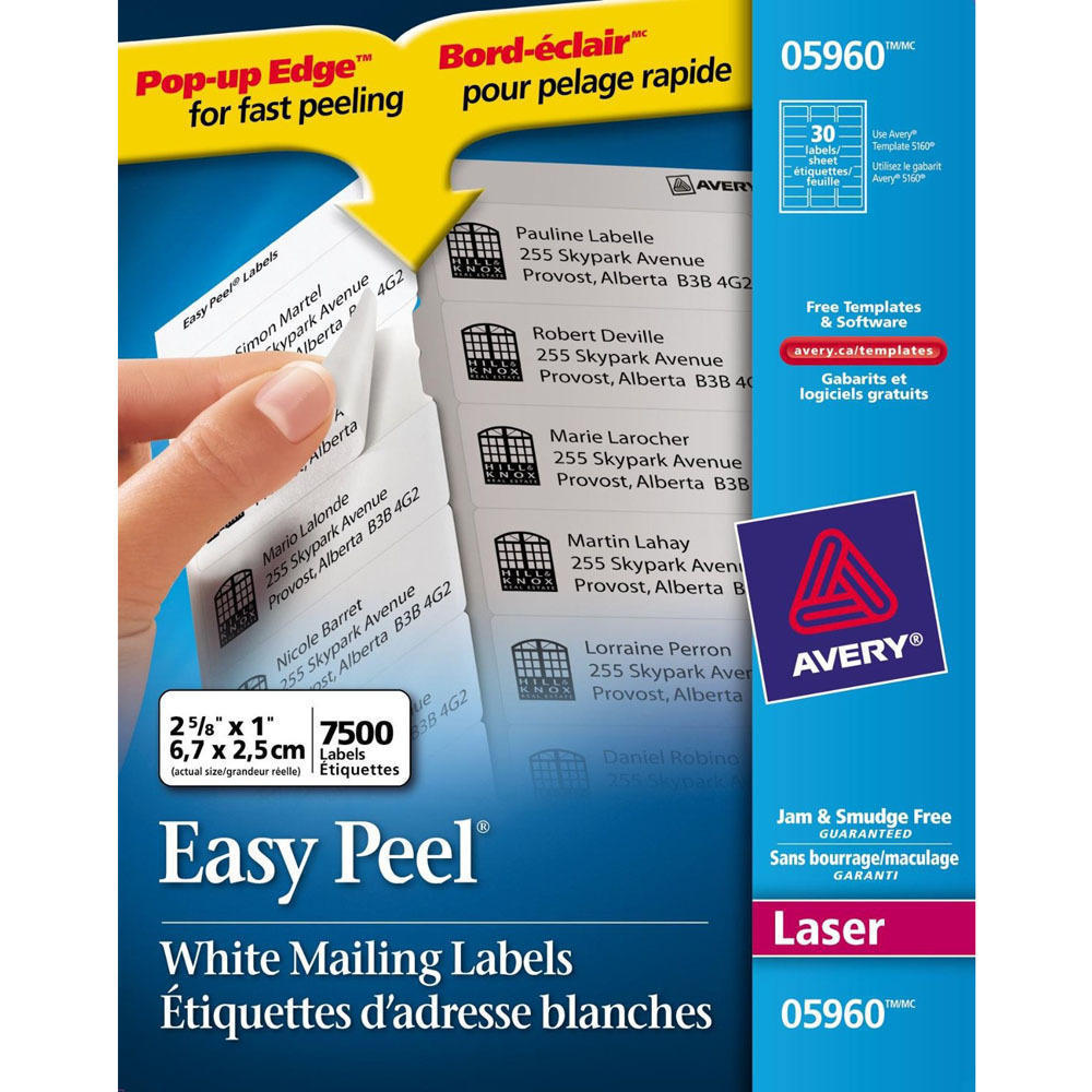 Avery® Easy Peel® White Laser Address Labels | 123InkCartridges Canada