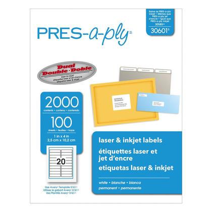 """Pr e-a-ply adh esif permanent laser / jet d'encre etiquettes - 4 x 1"""", 2000/paquet 482646"""