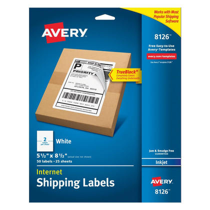 """Avery@ TrueBlock@ White Mailing Labels for Ink Jet Printers - 5-1/2 x 8-1/2"""" (50)"""