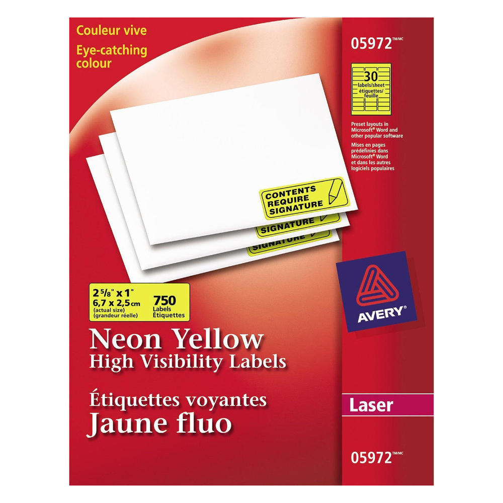avery high visibility shipping labels for laser printers 2 5 8 x 1