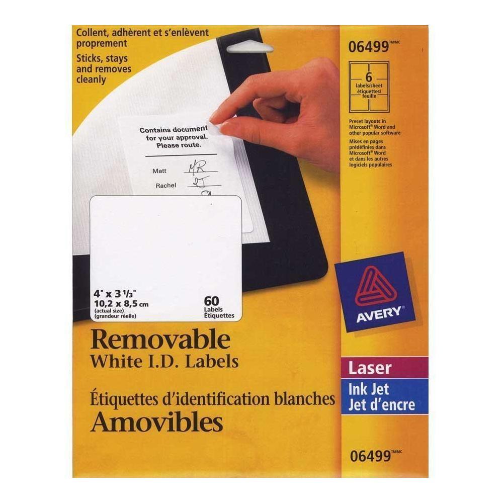 avery removable i d laser inkjet labels