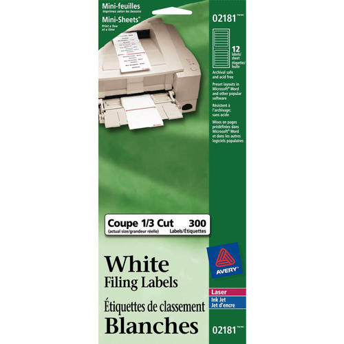 avery ecofriendly white filing labels 3 7 16 x 2 3 pack of 300