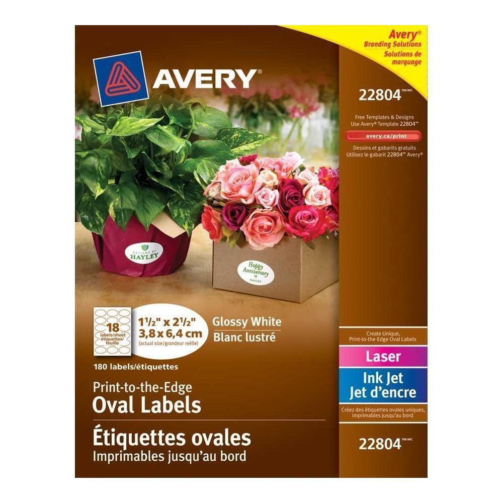 AveryR White Printable Oval Glossy Labels